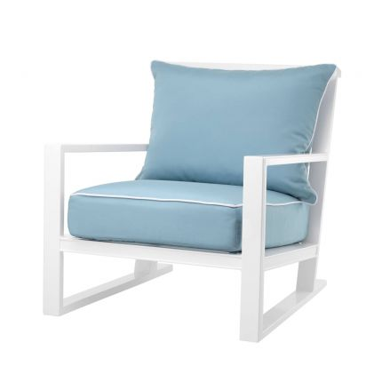 luxurious outdoor chair with blue and white upholstery