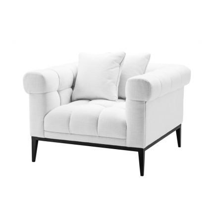 sumptuous white armchair with black tapered feet
