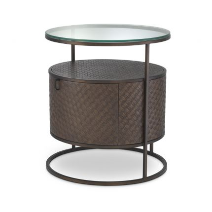 A luxurious dark woven oak bedside table with a glass table top
