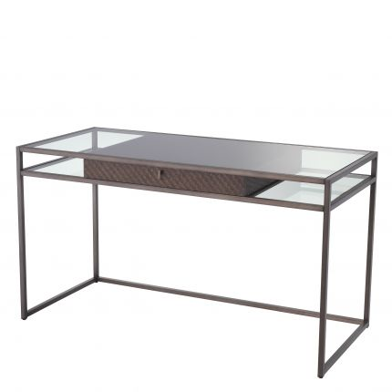 glass desk with glass tabletop and woven oak veneer drawer