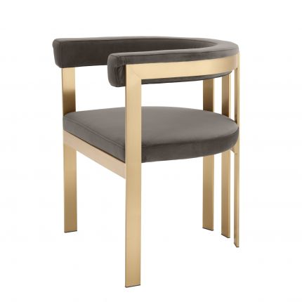 taupe upholstered chair with brushed brass frame