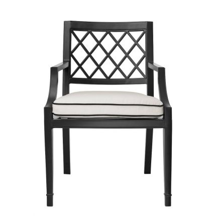 black dining chair with arms and a monochromatic seat cushion - suitable for outdoor