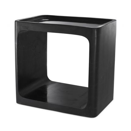 Eichholtz contemporary honed black marble side table with a cut out design