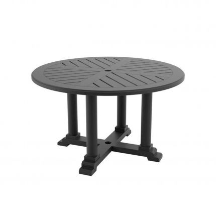 round outdoor dining table in black finish - 130 cm