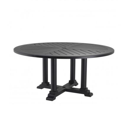 large round outdoor dining table in matte black finish