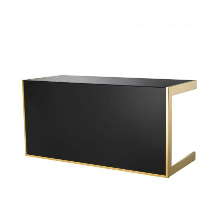 black glass and gold finish stainless steel desk