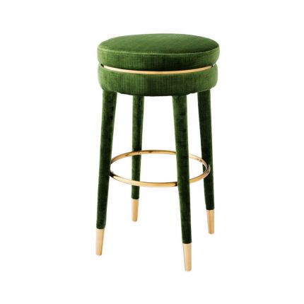 stylish green bar stool with brass accents