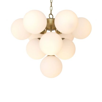 antique brass chandelier with white glass spheres