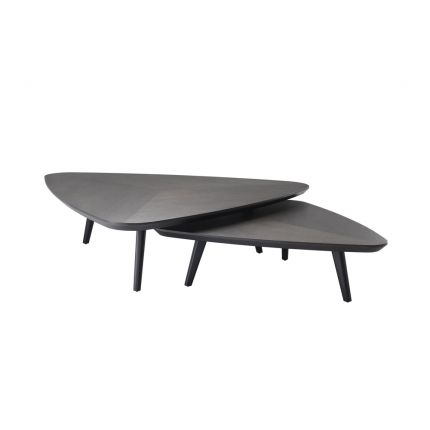 A stylish set of two dark brown wood coffee tables