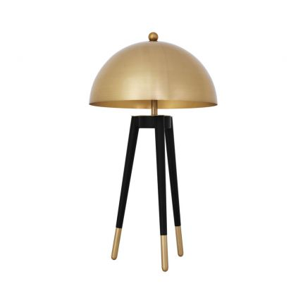 contemporary table lamp with dome-shaped shade and tapered legs with golden caps