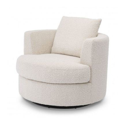 A fabulous swivel armchair with cream, boucle upholstery