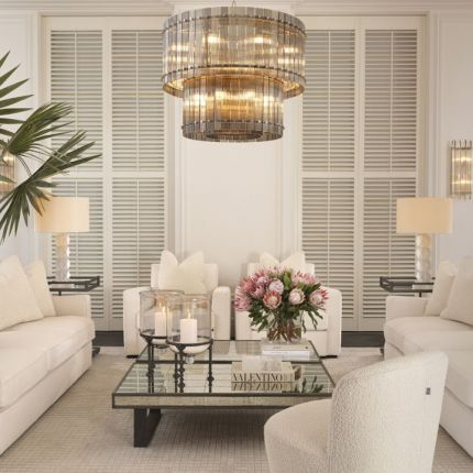 A stunning smoked glass and nickel chandelier