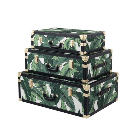 tropical set of 3 trunks with banana leaf-printed fabric