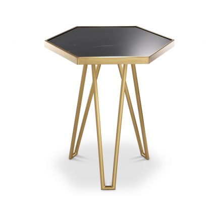 Brushed brass frame side table with hexagonal black marble tabletop