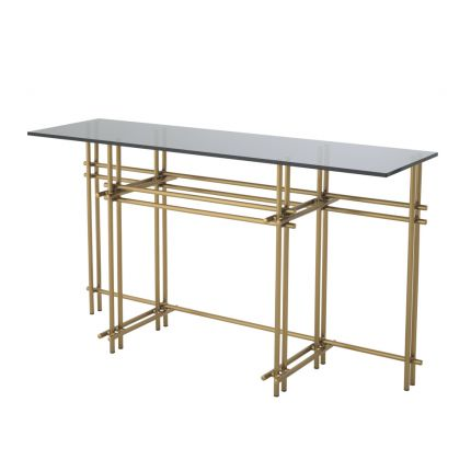 Modern Eichholtz brushed brass console table with smoke glass top