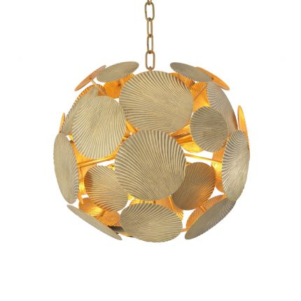 A contemporary, abstract vintage brass chandelier by Eichholtz