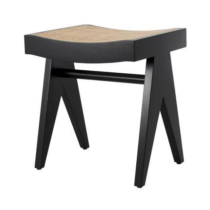 Solid wood stool with black legs and rattan cane webbed seat