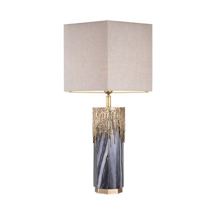 Luxurious Eichholtz grey marble table lamp with vintage brass accents and a linen shade