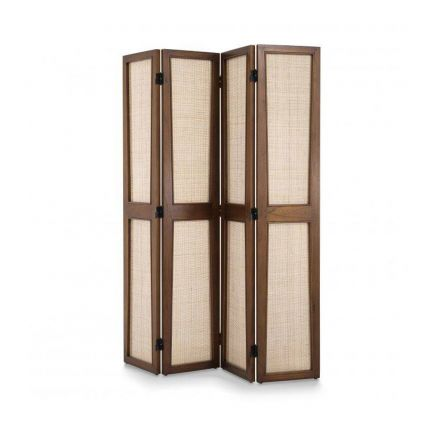 A luxurious Pierre Jeanneret-inspired folding screen in a natural brown finish