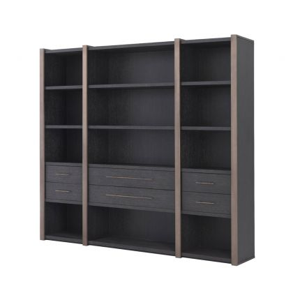 Charcoal grey, large wooden cabinet with 6 drawer storage and shelving unit with bronze detailing