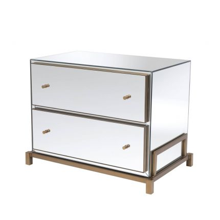 Mirrored glass 2 drawer bedside table with brass finish