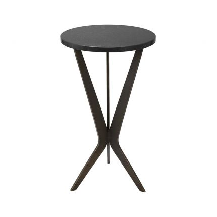 A dark-featured, granite and bronze side table
