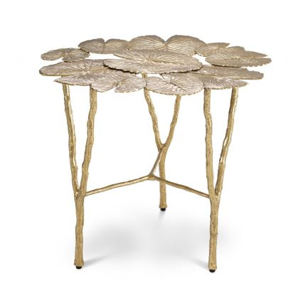 A glamorous nature-inspired side table with a surface of lilypads and branch-like legs