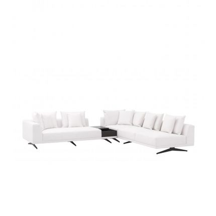 A luxurious upholstered corner sofa with contrasting black legs