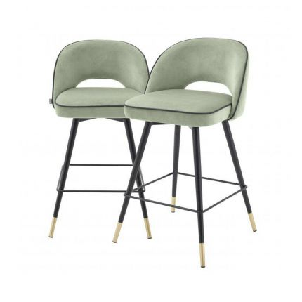 Pistachio green velvet set of 2 bar stools with black piping and golden accents