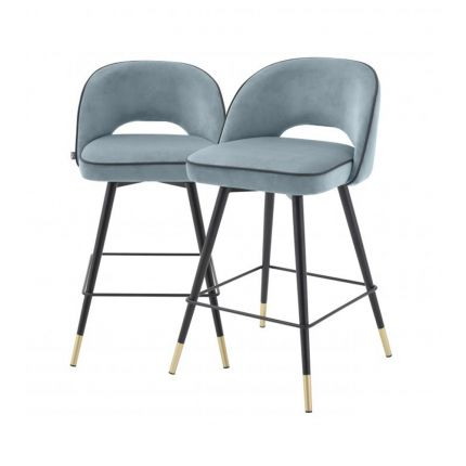 Blue velvet set of 2 bar stools with black piping and golden accents