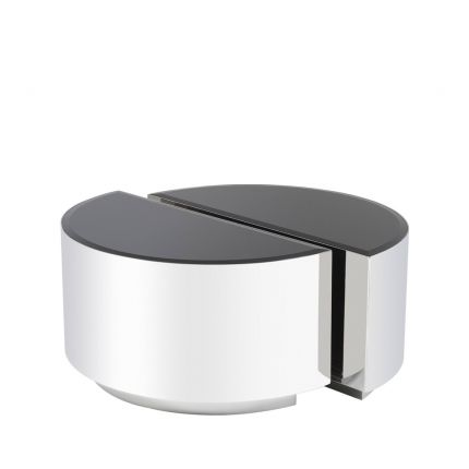 Eichholtz polished stainless steel circular side table set of 2 with black glass tabletop