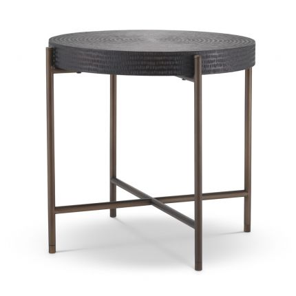 Minimal dark grey side table with bronze finished frame by Eichholtz