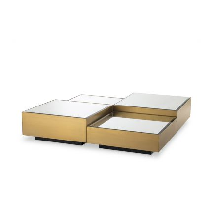 A chic set of 4 square brushed brass coffee tables with bevelled glass surfaces and black bases
