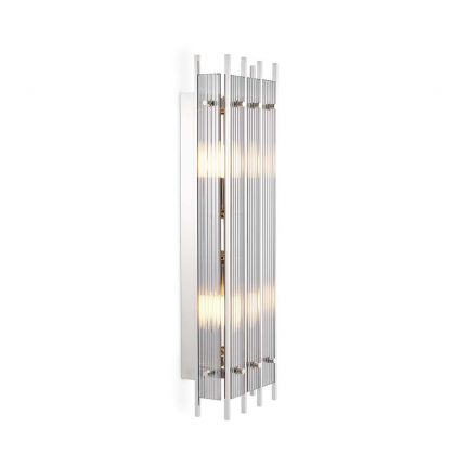 Art deco inspired wall light in a nickel finish