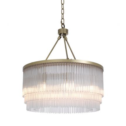 Eichholtz glamorous clear glass multiple tier chandelier with light brass frame