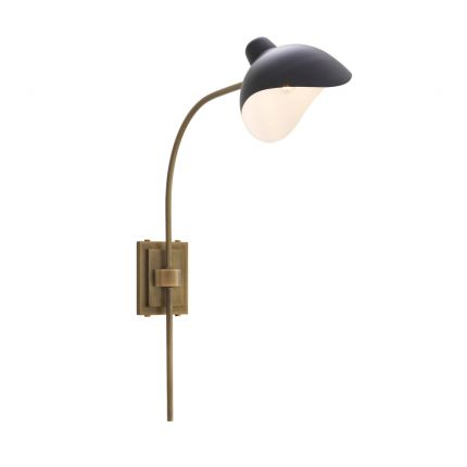 Industrial Eichholtz antique brass wall lamp with black lampshade