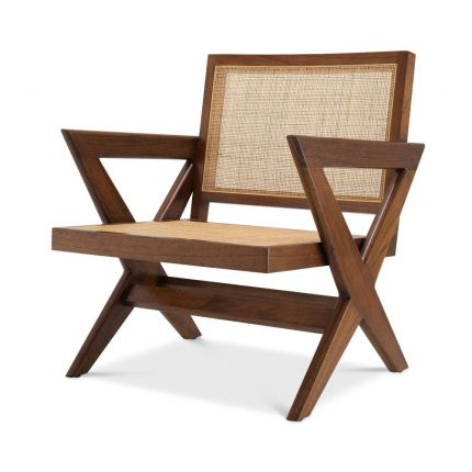 An iconic brown mindi wood and rattan chair with x-shaped legs