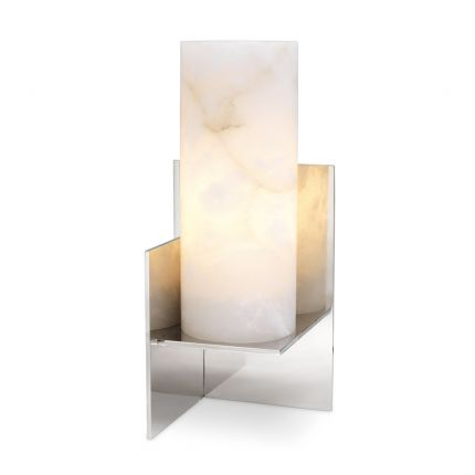 Luxurious Eichholtz alabaster table lamp with nickel finish