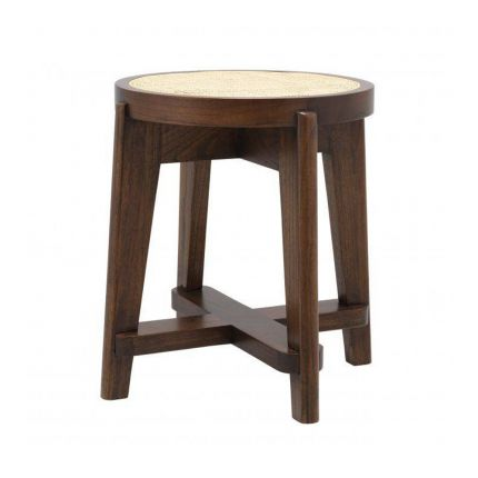 A Scandinavian inspired stool with rattan webbing and a natural brown finish