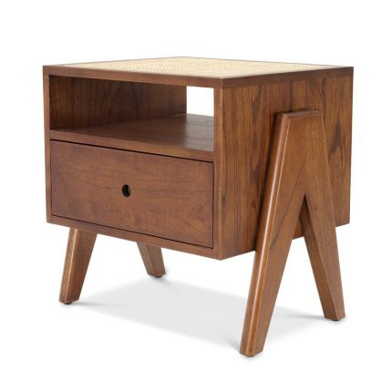 Eichholtz luxury wooden one-drawer bedside table with rattan cane top