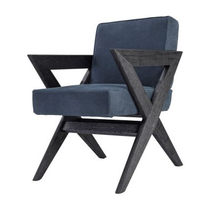 Eichholtz contemporary blue leather dining chair with black oak legs