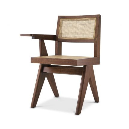 A classic Jeanerette inspired brown rattan chair with a desk