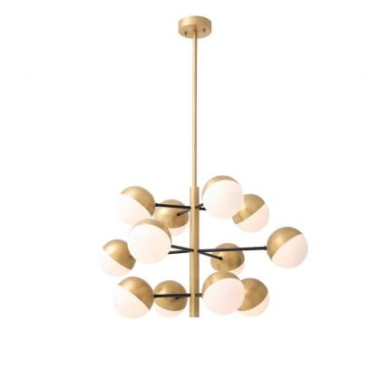A stunning antique brushed brass and white glass 16-light chandelier