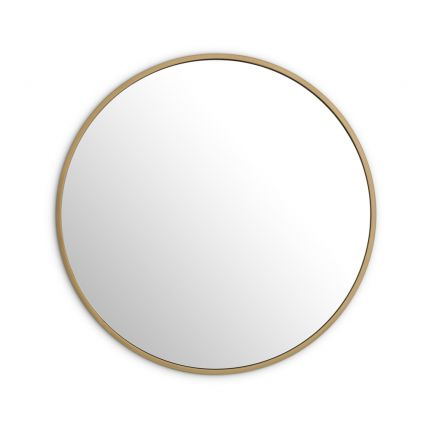 A contemporary brushed brass circular wall mirror by Eichholtz
