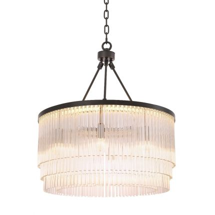 Luxurious Eichholtz multiple tier clear glass rod chandelier on a bronze finished iron frame