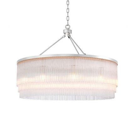 A glamorous art deco inspired chandelier with layers of glass rods