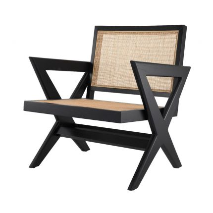 An iconic black mindi wood and rattan chair with x-shaped legs