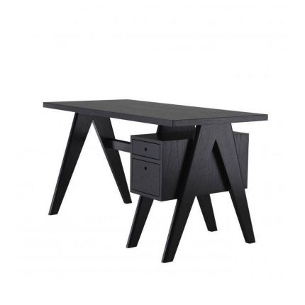 A stylish Danish-style retro desk with drawers in a black finish