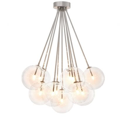 Glamorous Eichholtz nickel finish ceiling lamp with hanging clear glass globes