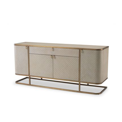 A contemporary dresser with washed oak veneer and brushed brass
